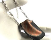 Copper Black Polymer Clay Art Pendant Silver Chain Necklace