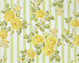 1960s Vintage Wallpaper by the Yard - Yellow Roses on Green and White Stripe