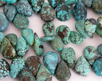 Genuine Turquoise Beads - Turquoise Teardrop Beads- 3.5 Inch Strand, Blue Turquoise Gemstone Beads, Turq202