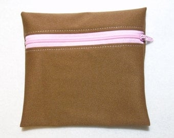 Small PUL Wetbag - Brown with Pink Zipper