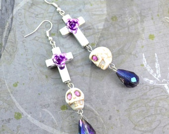 HOLY BONES- Silver Cross Charm Skull Rose Tear Drop Crystal Earrings