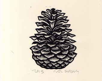Pine Cone Linocut Art Print, Fall and Winter Art Decor, Wall Art, Linocut Print, Hand Printed Wall Art