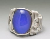 Color Changing Mood Cabochon Sterling Silver Wire Wrapped Ring ANY size