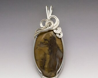 Riviera Plume Agate Sterling Silver Wire Wrapped Pendant - Ready to Ship!