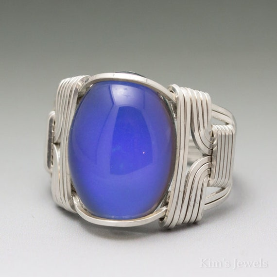 Color Changing Mirage Mood Cabochon Sterling Silver Wire Wrap Ring - Made to Order and Ships Fast!