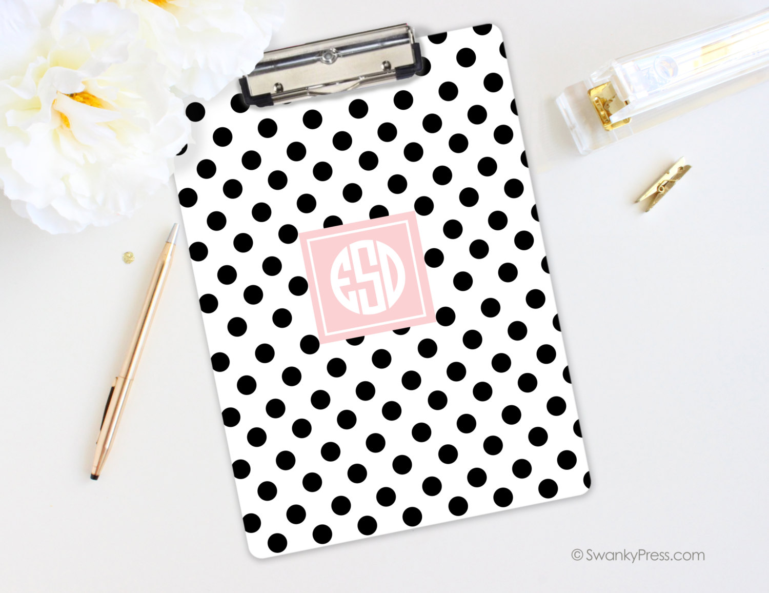 Personalized Monogrammed Clipboard Polka Dots With Monogram