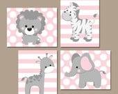 Baby Girl Nursery Wall Art, Pink Gray Nursery Artwork, Elephant Giraffe Zebra Lion, Safari Animals Decor Bedroom, Canvas or Print Set of 4