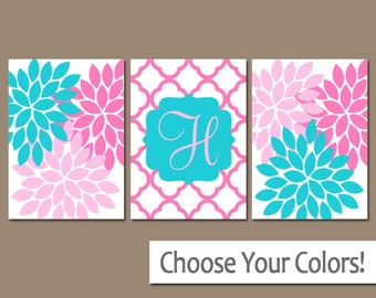 Turquoise Hot Pink Nursery Wall Art, Baby Girl Nursery Wall Art, Girl Bedroom Pictures, CANVAS or Prints Girl Nursery Decor  Set of 3