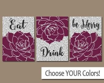 Eat Drink Be Merry, KITCHEN Wall Art, CANVAS or Prints Flower Dahlia, Kitchen Artwork, Bar Decor, Kitchen Pictures, Set of 3 Home Decor