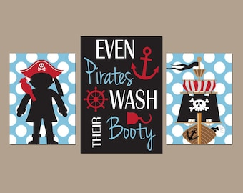 PIRATE BATHROOM Wall Art, CANVAS or Prints, Even Pirates Wash Their Booty Quote, Shared Brother Bathroom Decor,Set of 3, Boy Pirates Artwork