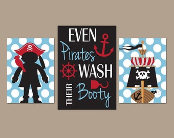 PIRATE BATHROOM Wall Art, CANVAS Or Prints, Even Pirates Wash Their Booty  Quote,