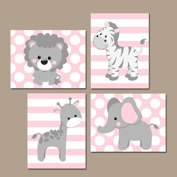 Nursery Art For Children Kids Wall Art Baby Girl Nursery Baby: Baby Girl Nursery Wall Art Pink Gray Nursery Decor Elephant