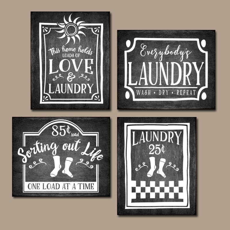 Antique Signs Wall Decor : Laundry wall art chalkboard quotes antique signs farmhouse