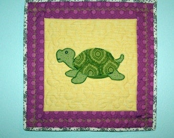 Happy Turtle nursery quilted wall hanging