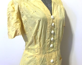 VINTAGE 1930s 1940s Dress - Cotton - Yellow - Large