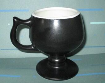 Last Call......Vintage HALL Black Glazed Pedestal Mug Cup
