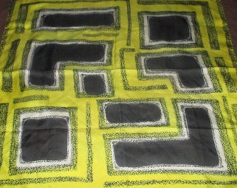 Vintage MOD 60s Yellow and Black Geometric Graphic Silk Scarf Signed Italy Pure Silk