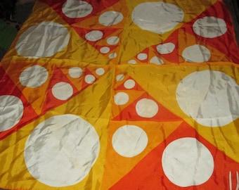Vintage Vera Orange and Yellow Geometric Optical Circle Motif Graphic Scarf