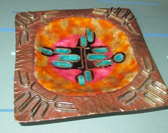 Vintage Mid Century Modern Copper and Enamel Square Dish Ashtray Judaica