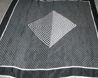 Only 5 Bucks.....Vintage Bill Blass Black and White Striped Optical Design Silk Scarf