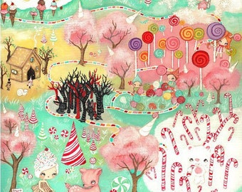 Candy Land Original Painting Cupcake Art Girl Candy Cane Holiday Game Pink Deer