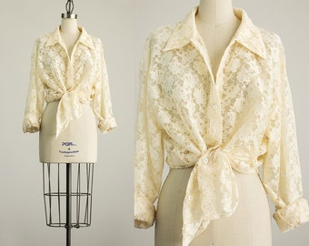 90s Vintage Cream Sheer Floral Lace Blouse / Size Large / Extra Large