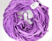 Sari silk ribbon, Silk Chiffon sari ribbon, Recycled Silk Sari Ribbon, purple ribbon, lilac ribbon, tassel supply, weaving supply