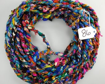 silk sari cording, Recycled Silk Sari Cording, sari cording, Sari rope, cording, yarn cording 22-23 yds