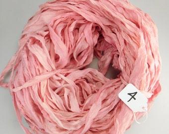 Silk sari ribbon, Recycled Silk Chiffon Sari Ribbon, Pink chiffon sari ribbon