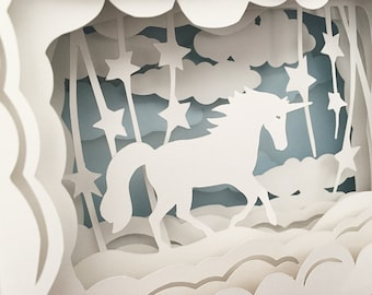 Fancy Schmancy Prancy Unicorn Paper Sculpture Diorama Unicorn Silhouette Shadow Box Paper Cuts Assemblage Scherenschnitte
