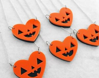 Pumpkin Heart Necklace - Jack O Lantern Halloween Acrylic Charm with Chain