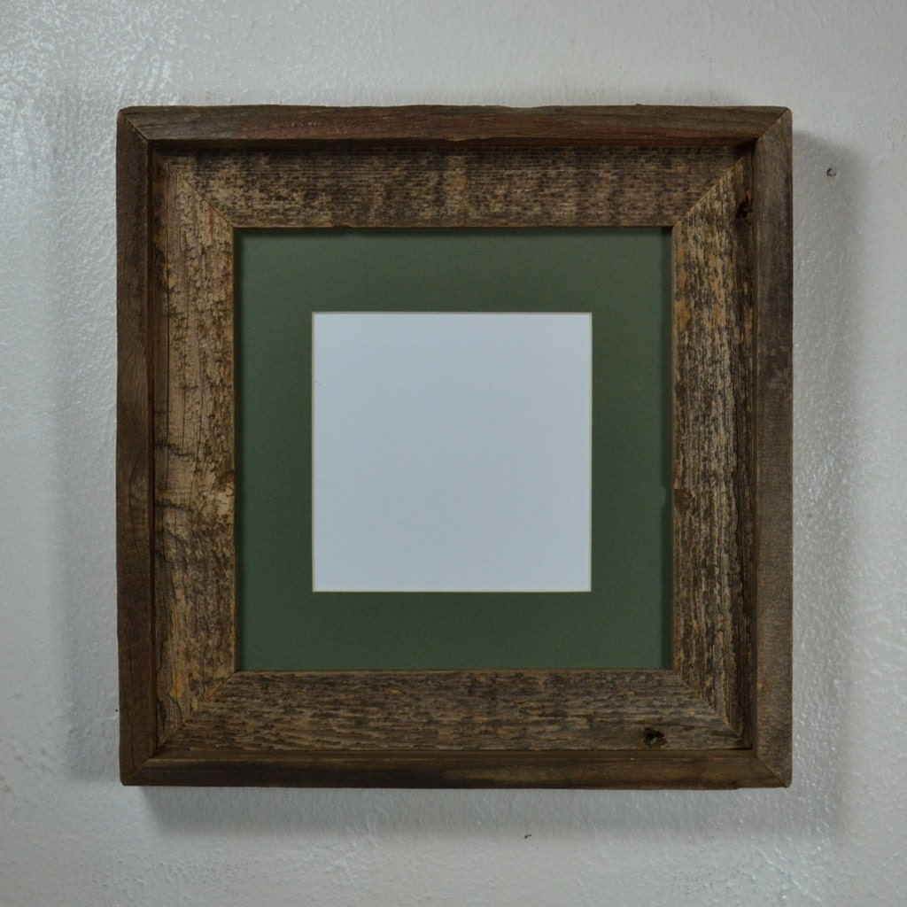 Upcycled Wood Frame 8x8 With Green Mat For 5x5 Or 6x6