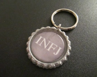 ONE 'infj' Bottle Cap Charm Keychain - Myers-Briggs