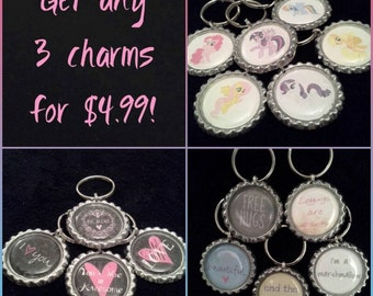 BUY THREE & SAVE! 3 Bottle Cap Charms of your choice from my shop for only 4.99