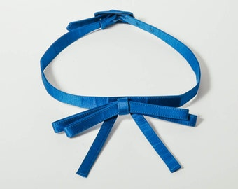 Vintage Blue Satin Bow Belt