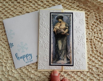 Handmade New Year Card: complete card, handmade, balsampondsdesign, christian, catholic, Mary, Jesus, snowflakes, blues