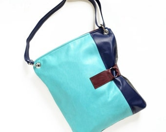 Leather Crossbody Bag / Laptop Bag / Womens Leather Shoulder Bag / Leather Purse - The Luella Bag in Light Turquoise and Royal Blue