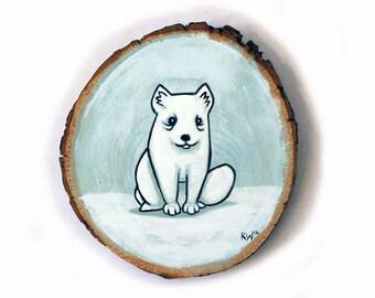 Wall Art - Arctic Fox - Original Acrylic Painting on Birch Wood Cut with Tree Bark - Animal Art - Fox Painting by Karen Watkins