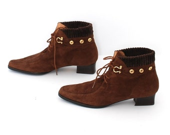 size 6 MOD brown suede 60s SWEATER CUFF lace up ankle boots