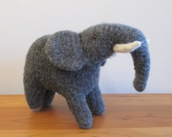 Plush Elephant Stuffed Animal, Handknit Gray Wool, Handmade Plush
