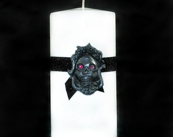 Gothic Style Pillar Candle - White - RIP Skull - Gothic Home Decor - Gifts under 20