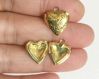 5 Gold plated Heart Locket Pendant 13x15mm, puff heart locket with flower, locket pendant, gold pendant