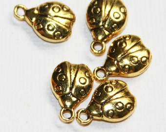 12 pcs of antique gold plated alloy Ladybug drops 14x9mm