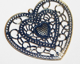 4 pcs of gold plated filigree heart pendant with blue enamel  64x58mm, Gold Blue heart earring drops