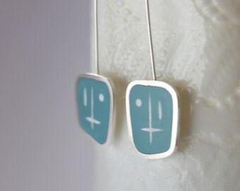 Aqua Blue Drop Earrings - Long Modern Silver Earrings - Unusual Dangle Earring - Gift for a Woman - Graphico Atomic -