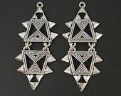 Ethnic Earring Findings Antique Silver Tribal Geometric Segmented Jewelry Pendant |S3-16|2