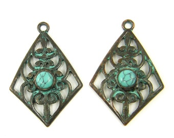 Patina Earring Findings, Verdigris Filigree Earring Finding Elongated Diamond Gypsy Turquoise Cab Antique Copper Earring Component |GR2-12|2