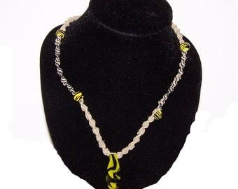 Handmade borosilicate yellow and black design glass pendant hemp necklace (57)