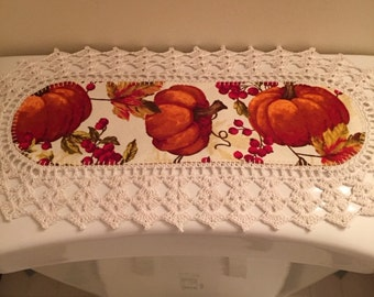 RESERVED- Aunt Roo's MINI Fall Festival PUMPKIN Toss fabric runner w/ crocheted edging for toilet tank or small shelf