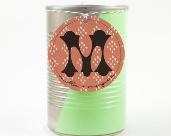 Soy Wax Candle in a Reused Hand Painted Can with a Mint Stripe
